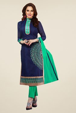 Ishin Blue & Green Embroidered French Crepe Dress Material