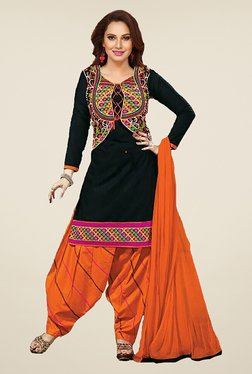 Ishin Black & Orange Embroidered French Crepe Dress Material