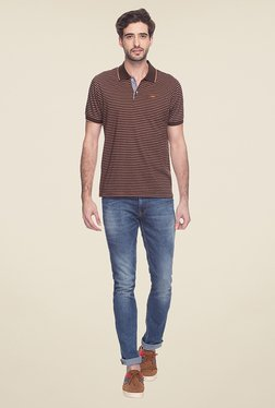 Park Avenue Brown Striped Polo T Shirt