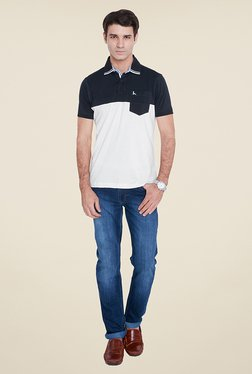 Parx White & Navy Solid Polo T Shirt