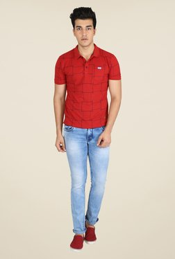 Easies Red Printed Polo T Shirt