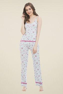 Clovia Light Blue Floral Print Pyjama Set