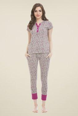 Clovia Grey Printed Pyjama Set