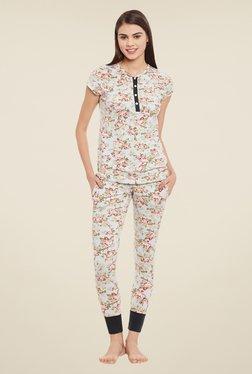 Clovia Green Floral Print Pyjama Set