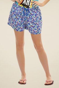 Clovia Blue Floral Print Shorts