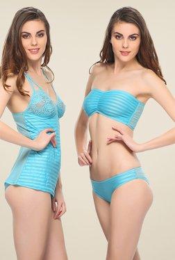 Clovia Blue 3 Piece Striped Nightwear Set