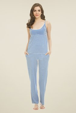 Clovia Blue Striped Pyjama Set
