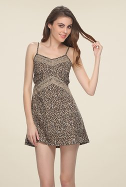Clovia Brown Animal Printed Chemise