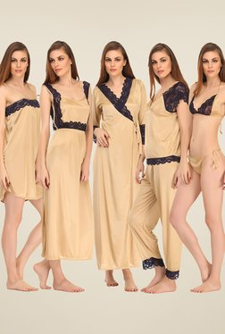 Clovia Gold 7 Piece Lace Nightwear Set