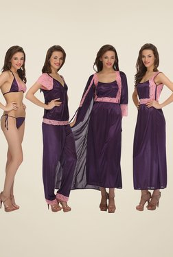 Clovia Purple 7 Piece Lace Nightwear Set