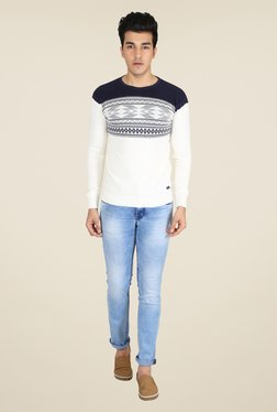 Easies White & Navy Printed Sweater