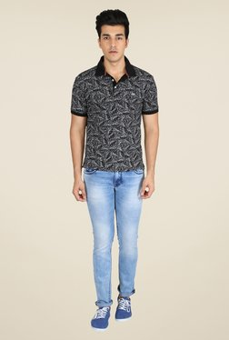 Easies Black Printed Polo T Shirt