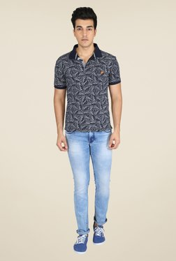 Easies Navy Printed Polo T Shirt