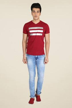 Easies Maroon Graphic Print T Shirt