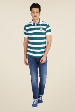 Easies Mist Green & White Striped Polo T Shirt