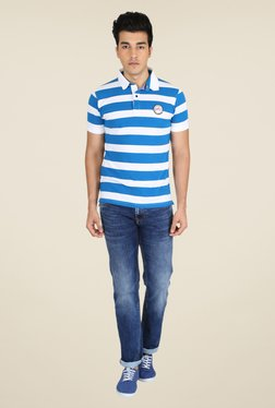 Easies Royal Blue & White Striped Polo T Shirt