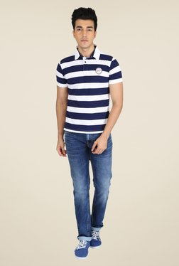 Easies Navy & White Striped Polo T Shirt