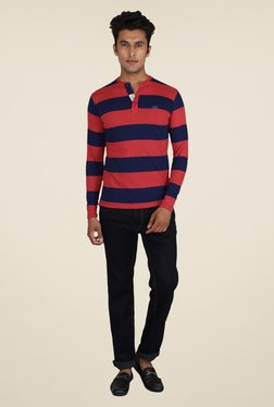 Easies Rubin Red & Navy Striped T Shirt