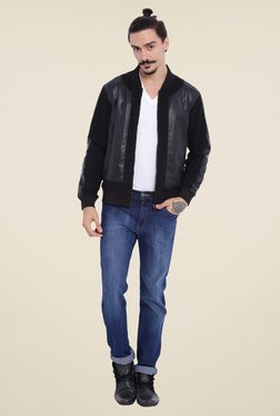 Campus Sutra Black Solid Jacket