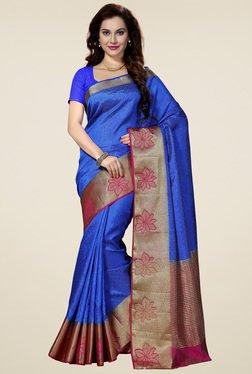 Ishin Blue Woven Zari Border Saree With Richpallu