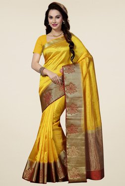 Ishin Yellow Woven Zari Border Saree With Richpallu