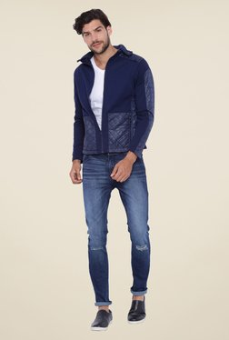 Campus Sutra Navy Quilted Hoodie Jacket