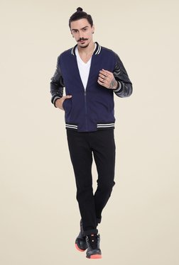 Campus Sutra Blue Solid Jacket