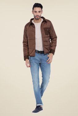 Campus Sutra Brown Solid Jacket