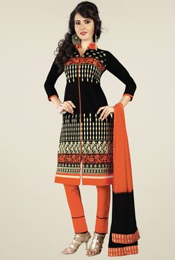 Ishin Black & Orange Printed Dress Material