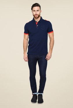 Arrow Sport Navy Solid Polo T Shirt
