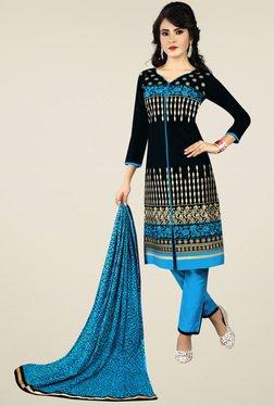 Ishin Black & Blue Printed Dress Material