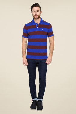 Arrow Sport Blue & Brown Striped Polo T Shirt