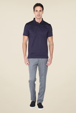 Arrow New York Navy Solid Polo T Shirt