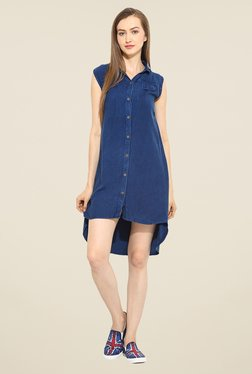 Free & Young Dark Blue Solid Tunic Dress