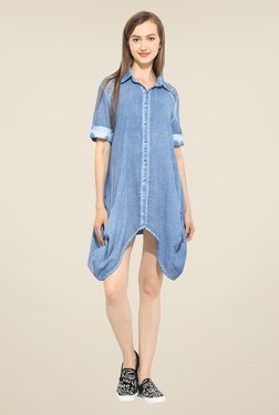 Free & Young Blue Solid Tunic Dress