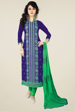 Ishin Blue & Green Printed Dress Material