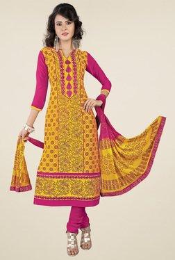 Ishin Yellow & Pink Printed Dress Material