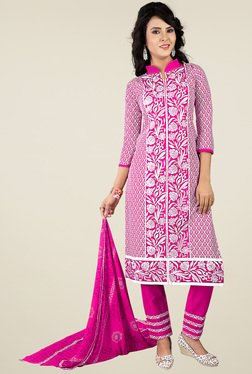 Ishin Pink Printed Dress Material