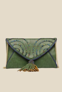 Rossoyuki Green Beaded Fringe Clutch