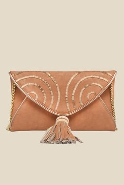 Rossoyuki Beige Beaded Fringe Clutch