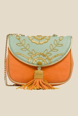 Rossoyuki Orange and Blue Floral Beaded Fringe Clutch