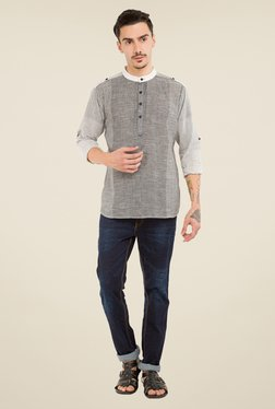 Svanik Grey Textured Kurta