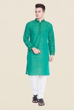 Svanik Green Textured Kurta
