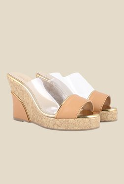 Zaera Clear Up Tan & Golden Wedges