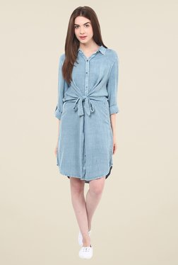 Free & Young Blue Solid Shirt Dress