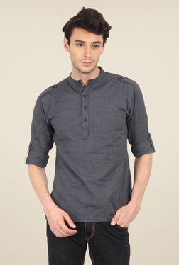 Svanik Dark Grey Textured Kurta