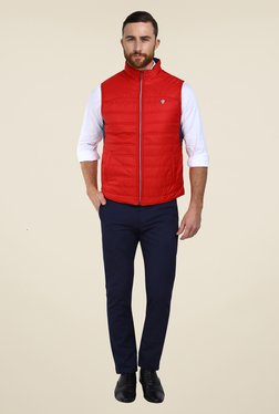 Arrow Sport Red & Navy Quilted Reversible Bomber Jacket