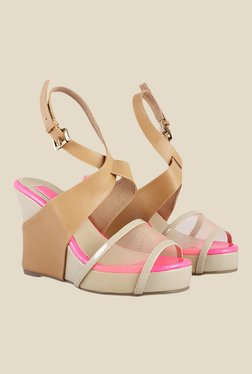 Zaera Mess Beige Back Strap Wedges
