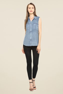 Free & Young Blue Solid Shirt