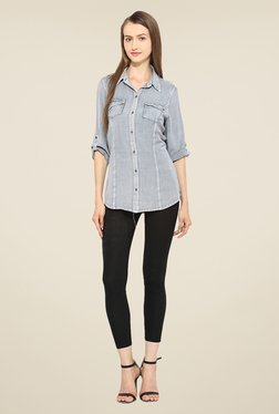 Free & Young Grey Solid Shirt